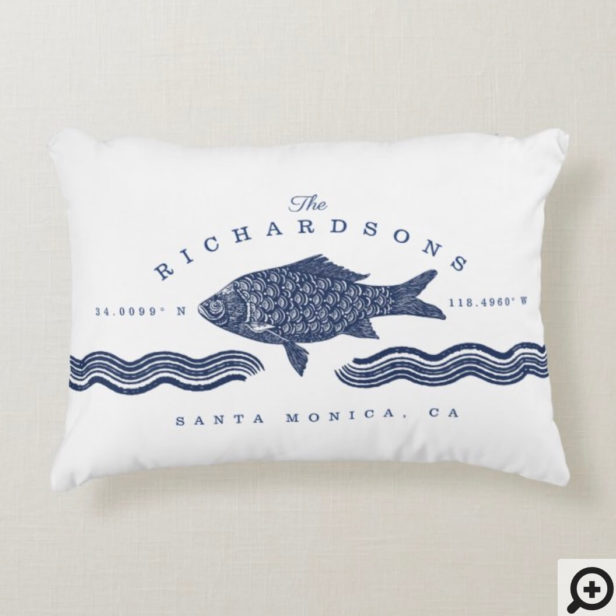 Vintage Etched Style Fish, Waves Ocean Coordinates Accent Pillow