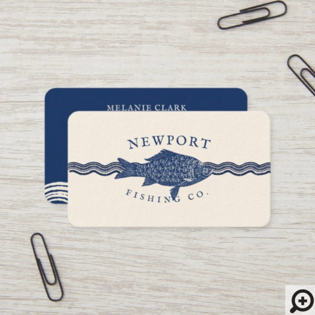 Vintage Etched Style Fish, Waves Ocean Theme Business Card