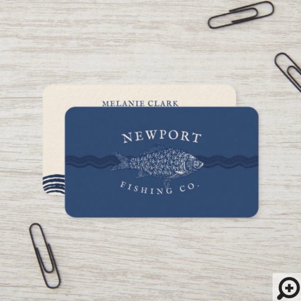 Vintage Etched Style Fish, Waves Ocean Theme Navy Business Card
