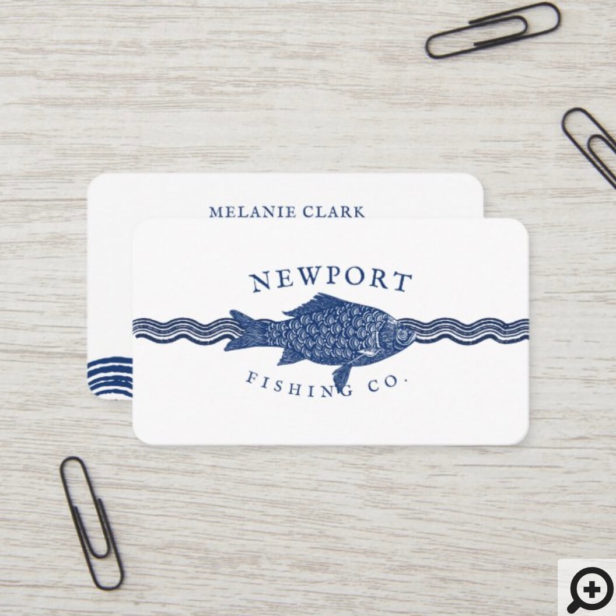 Vintage Etched Style Fish, Waves Ocean Theme White Business Card