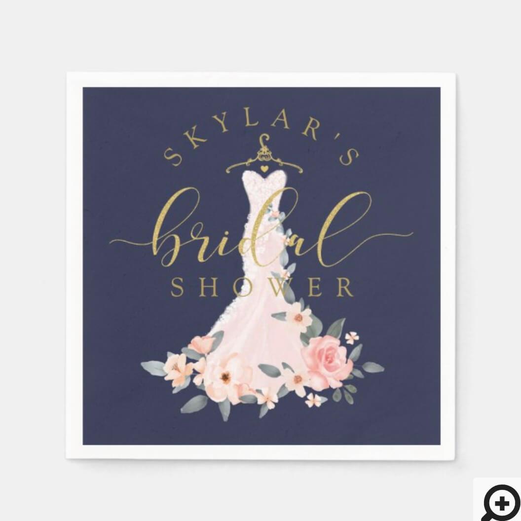 Vintage Floral Wedding Dress Bridal Shower Navy Napkins Moodthology Papery
