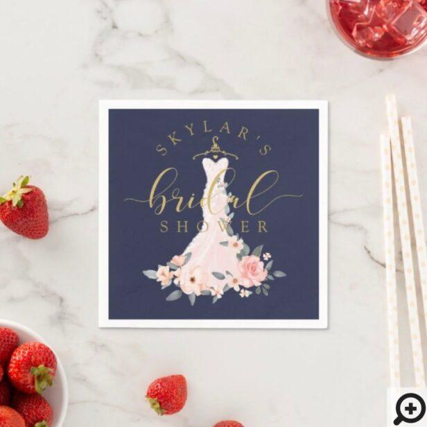 Vintage Floral Wedding Dress Bridal Shower Navy Napkins