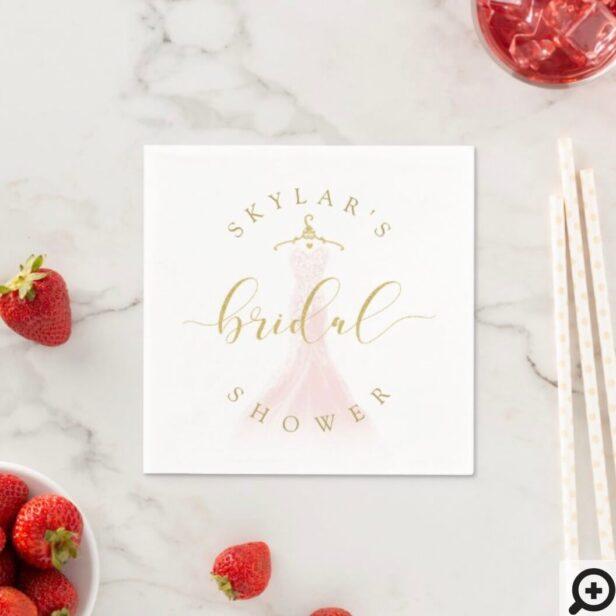 Vintage Wedding Dress Pink Bridal Shower White Napkins