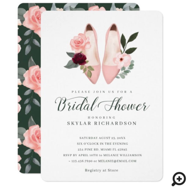 Watercolor Pink High Heel Floral Bridal Shower Invitation