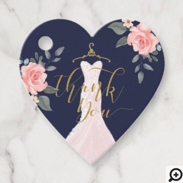 Wedding Dress Bridal Shower Blush Pink Florals Favor Tags