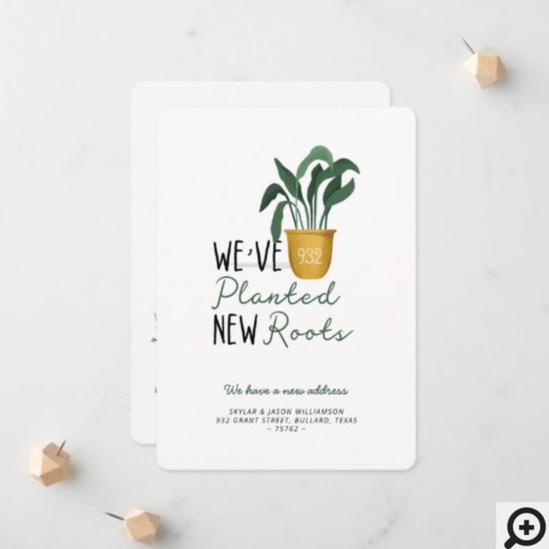 We've Planted New Roots Watercolor Potted Plant Announcement