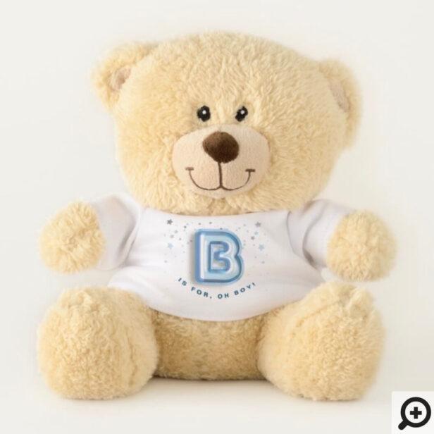 B is For Boy Blue Foil Balloon Letter & Confetti Teddy Bear