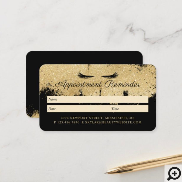 Beauty Gold Dusted Eyelash Black & Gold Luxurious Appointment Card