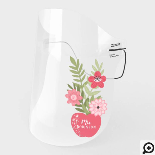 Blooming Floral Red Apple Back To School Teachers Face Shield