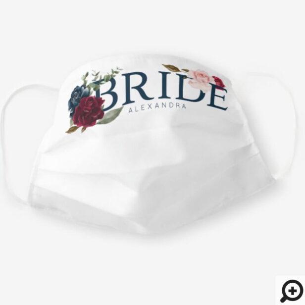 Bride Wedding Watercolour Burgundy Rose Florals Cloth Face Mask