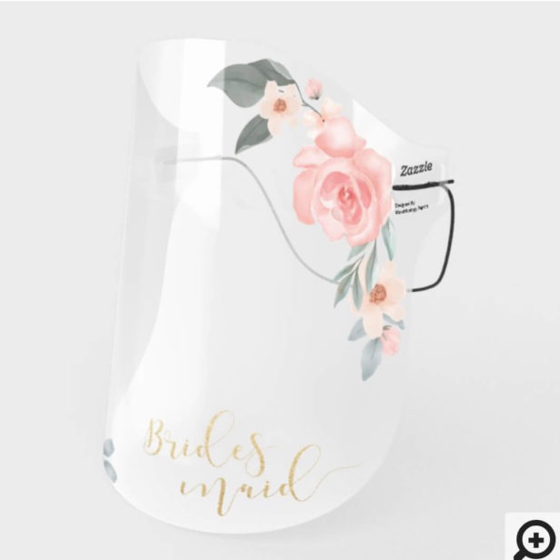 Brides Maid Gold Calligraphy Watercolor Florals Face Shield