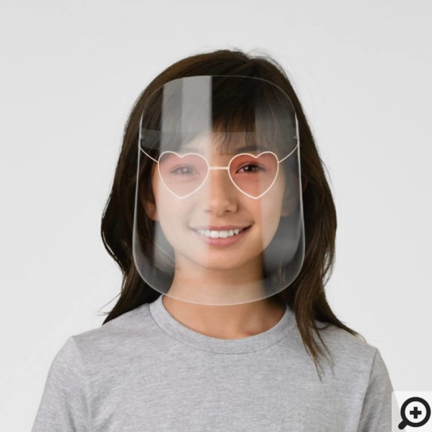 Chic Rose Gold Heart Sunglasses With Pink Gradient Kids' Face Shield