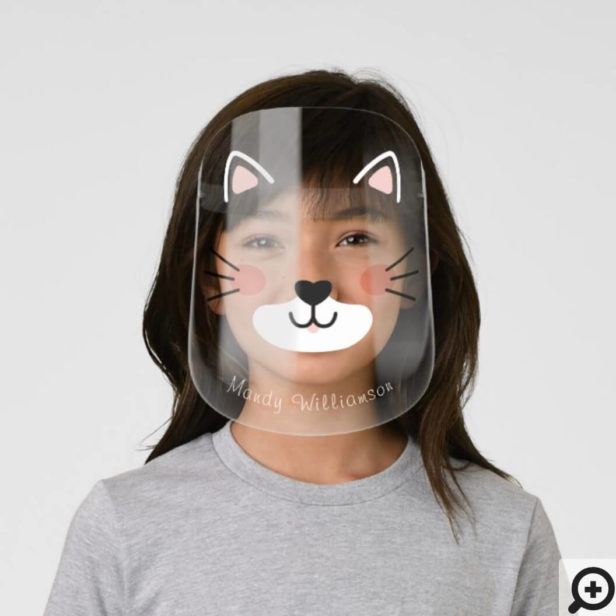 Cute Adorable Kitty Cat Face Ears & Whiskers Kids' Face Shield