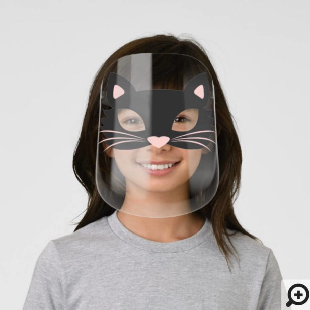 Cute Black Kitty Cat Character Halloween Kids' Face Shield