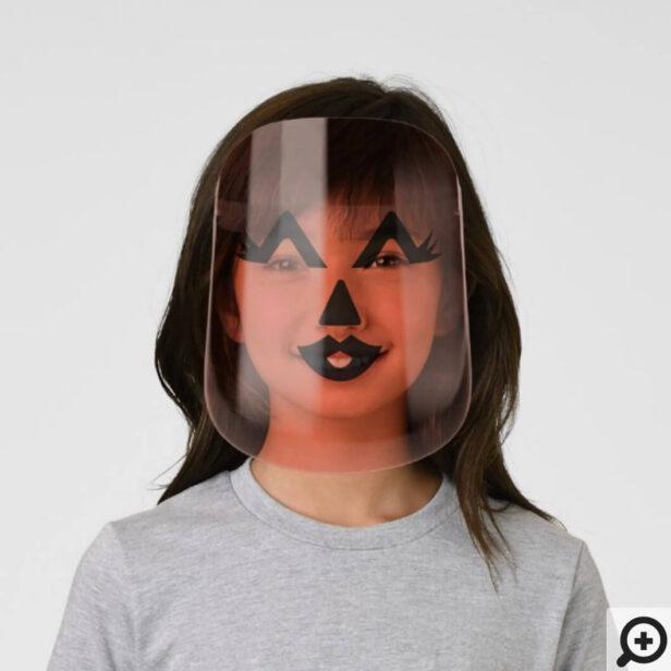 Cute Girl Halloween Orange Pumpkin Craved Face Kids' Face Shield