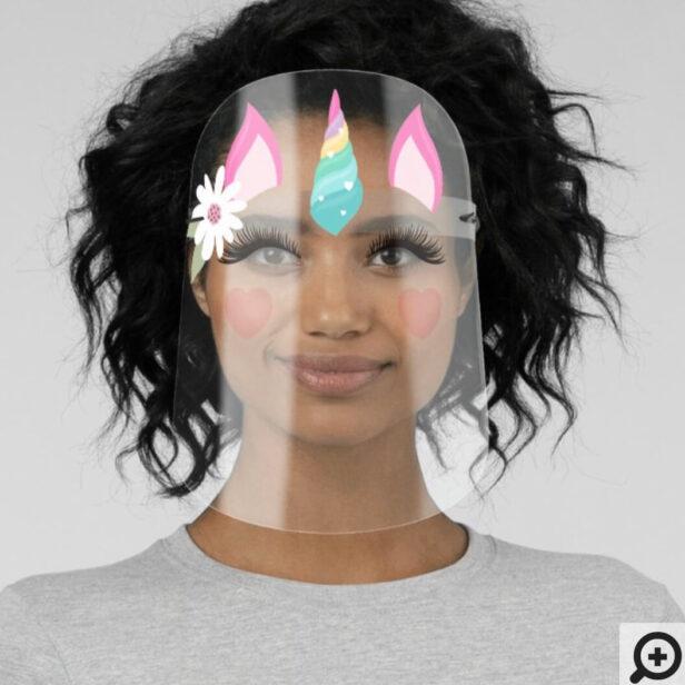 Cute Magical Rainbow Unicorn Character & Floral Face Shield