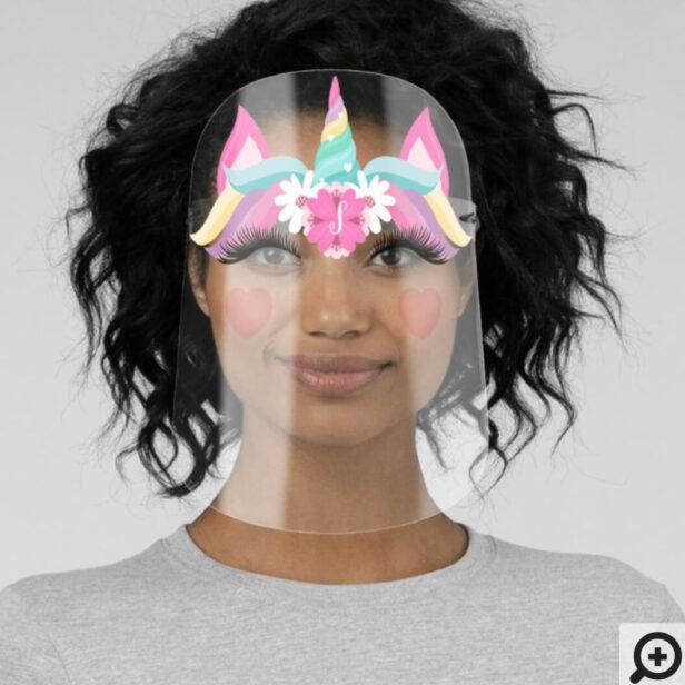 Cute Magical Rainbow Unicorn Florals & Monogram Face Shield