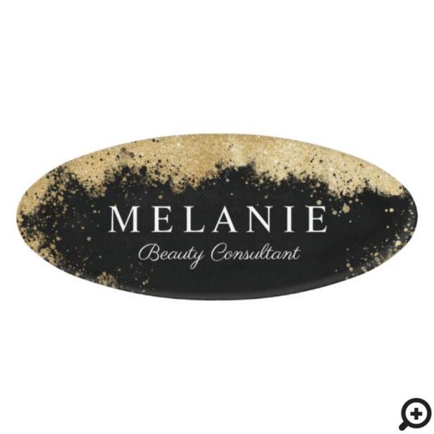 Elegant Beauty Salon Black & Gold Glitter Beauty Name Tag