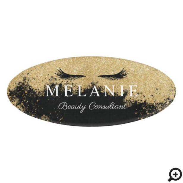 Elegant Black Eyelash Gold Glitter Cosmetologist Name Tag