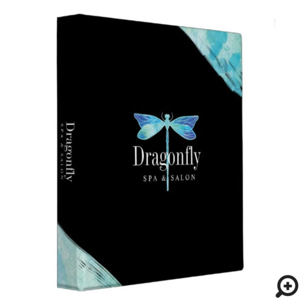 Elegant Blue & Aqua Watercolor Dragonfly 3 Ring Binder