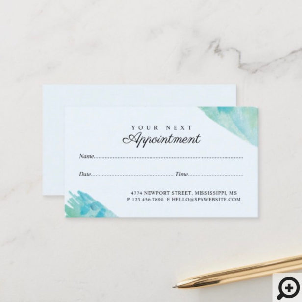 Elegant Blue & Aqua Watercolor Dragonfly Appointment Card
