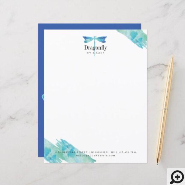 Elegant Blue & Aqua Watercolor Dragonfly Stationery Letterhead