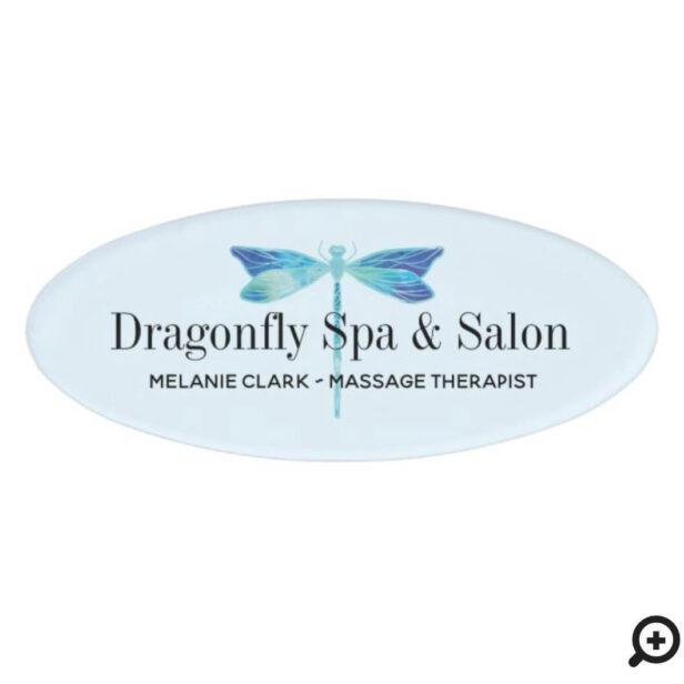 Elegant Dragonfly Logo Blue & Aqua Watercolor Name Tag