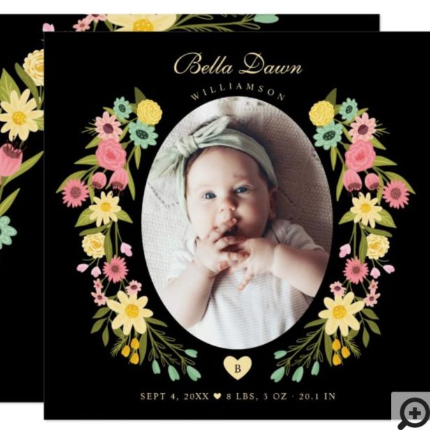 Beautiful Spring Floral Wreath Photo Baby Photo Invitation