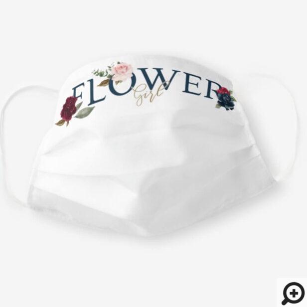 Flower Girl Wedding Watercolor Burgundy Florals Cloth Face Mask