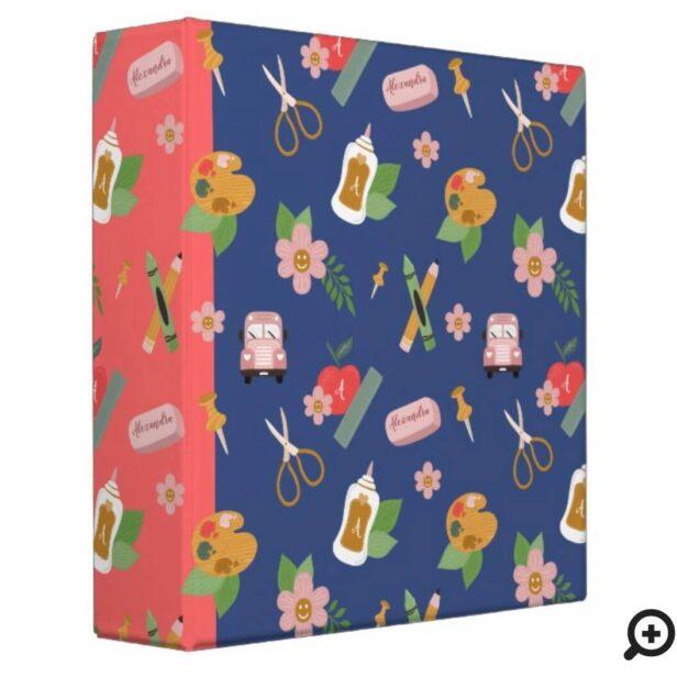 Fun Back To School Kid's School Supplies Pattern 3 Ring Binder