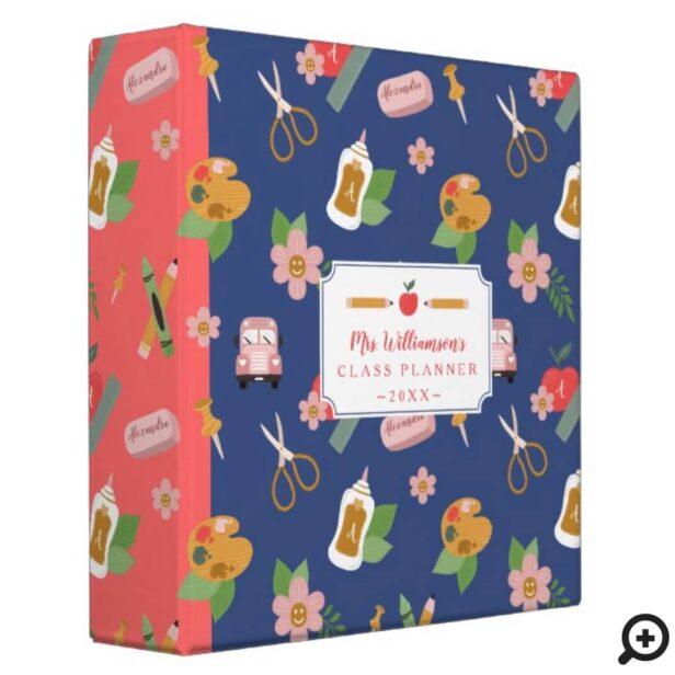 Fun Back To School Teacher School Supplies Pattern 3 Ring Binder