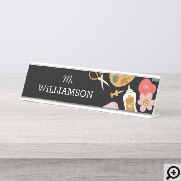 Fun School Teacher School Supplies Personalized Desk Name Plate