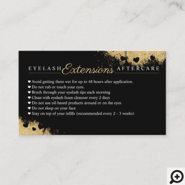 Gold Dusted Mascara Eye Lashes Aftercare Tips Referral Card