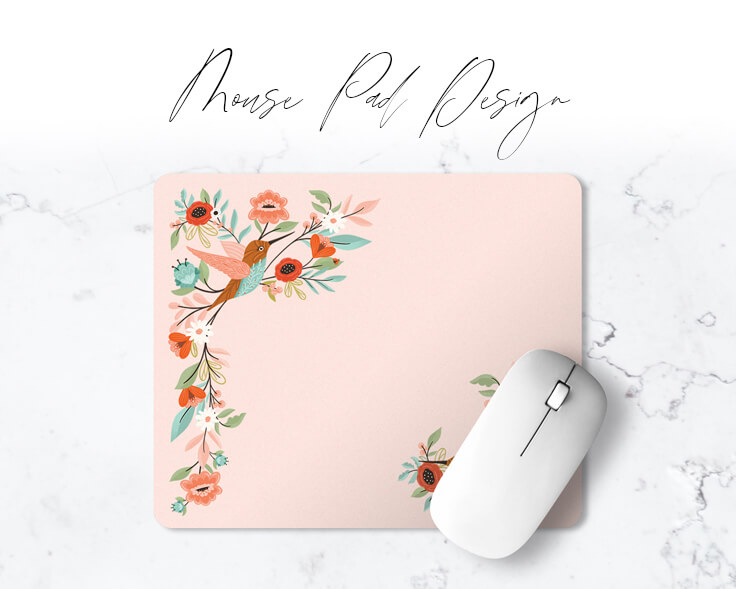 Hummingbird Floral Mouse Pad Design By Moodthology