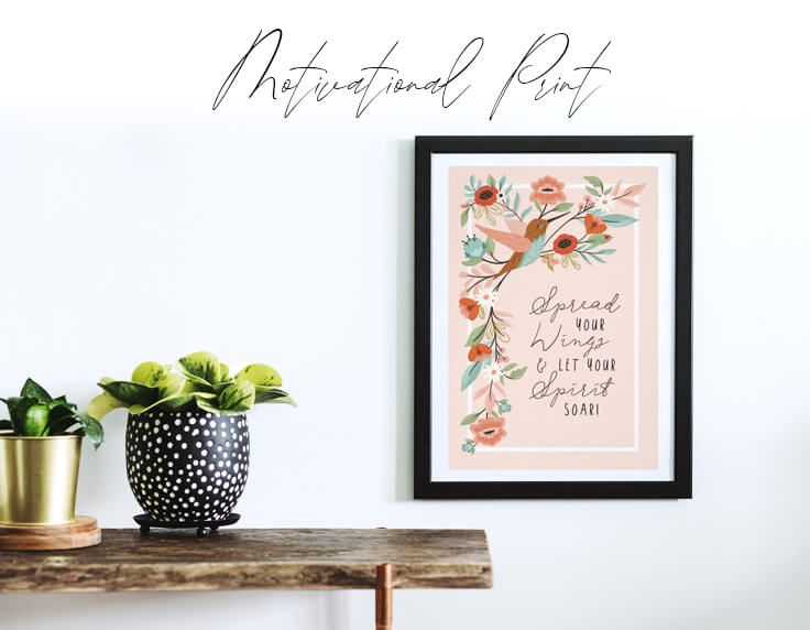 Hummingbird Floral Quote Wall Art Print Design By Moodthology
