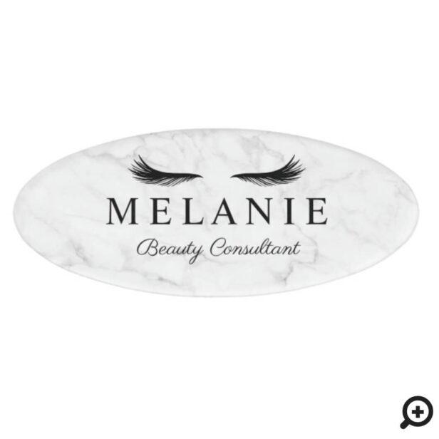 Modern Elegant Black Eyelash Marble Cosmetologist Name Tag