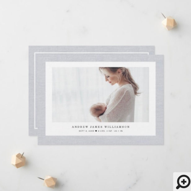 Modern Elegant Linen Texture Baby Boy Photo Photo Announcement