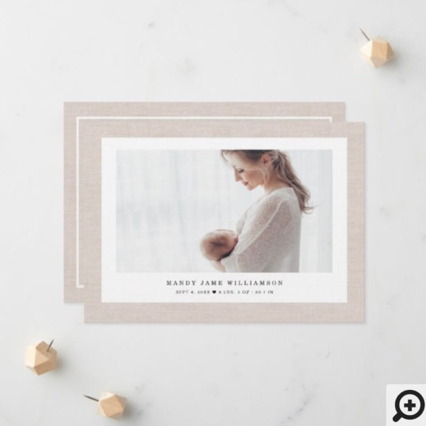 Modern Elegant Linen Texture Baby Girl Photo Photo Announcement