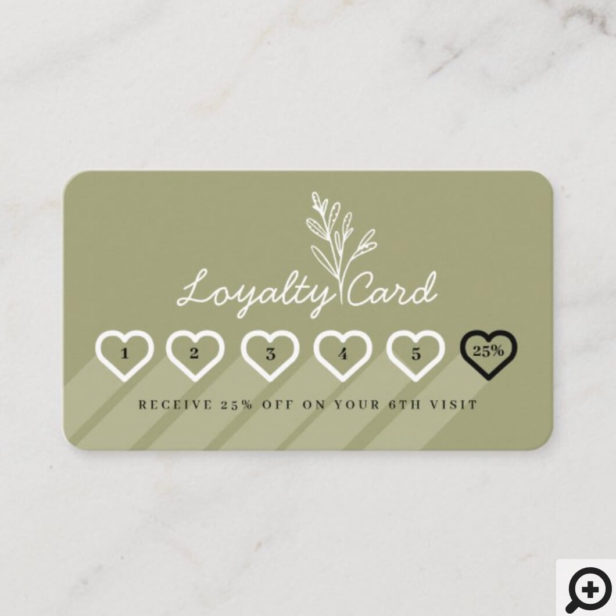 Modern Floral Botanic Line-art Branch Loyalty Card