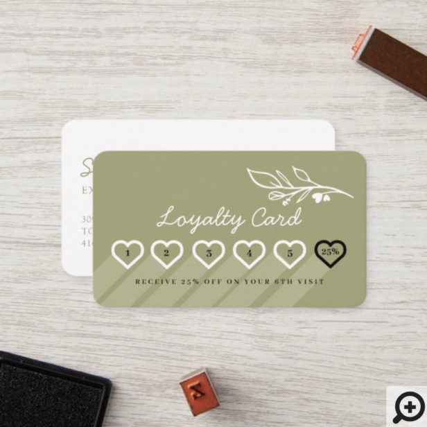 Modern Floral Botanic Line-art Logo Loyalty Card