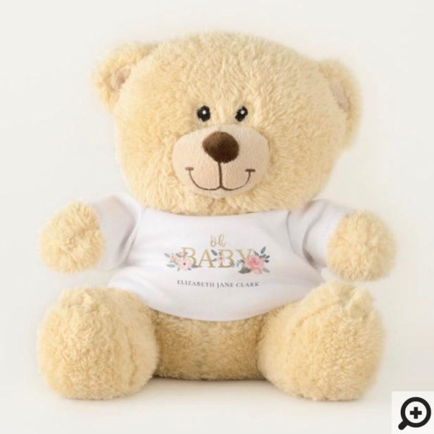 Oh Baby Watercolor Floral Rose Garden Baby Shower Teddy Bear