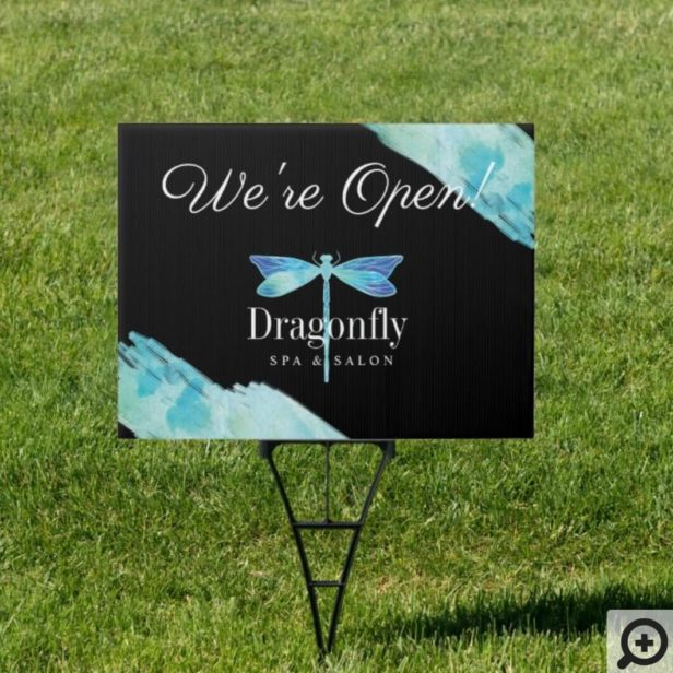 Open For Business Blue Watercolor Dragonfly Sign