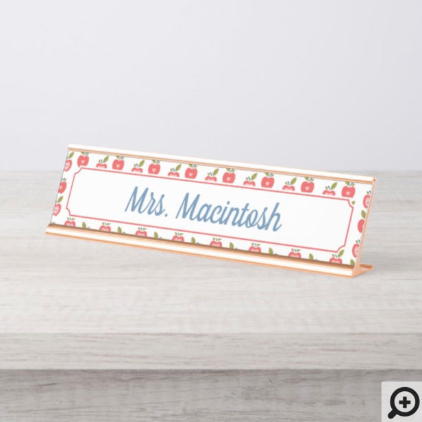 Red Apple & Heart Pattern Personalized Teacher Desk Name Plate