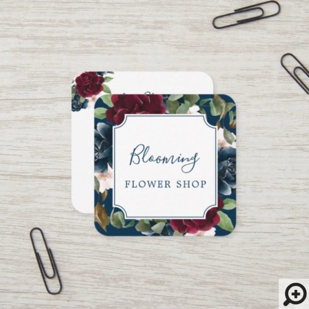 Red Burgundy & Blue Elegant Watercolor Flowers Square Business Card