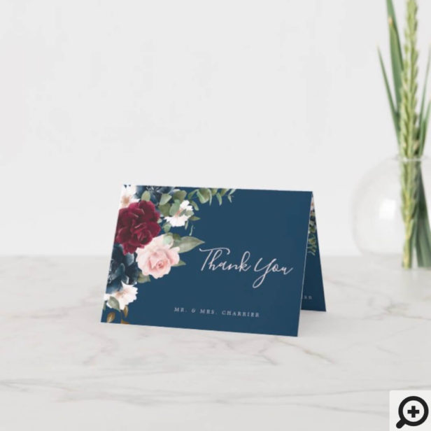 Red Burgundy & Blue Elegant Watercolor Flowers Thank You Card