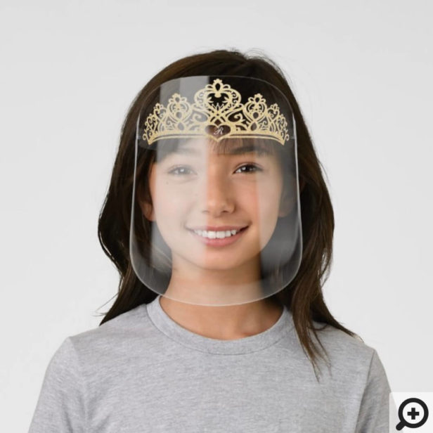 Royal Queen Elegant Gold Glitter Crown & Monogram Kids' Face Shield