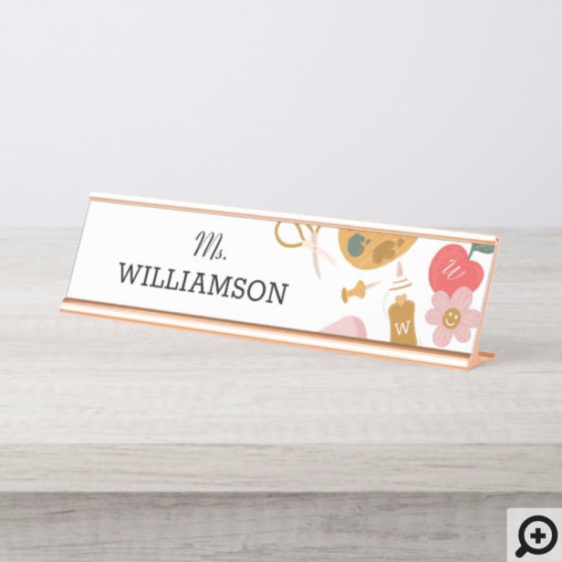 School Teacher School Supplies Personalized White Desk Name Plate
