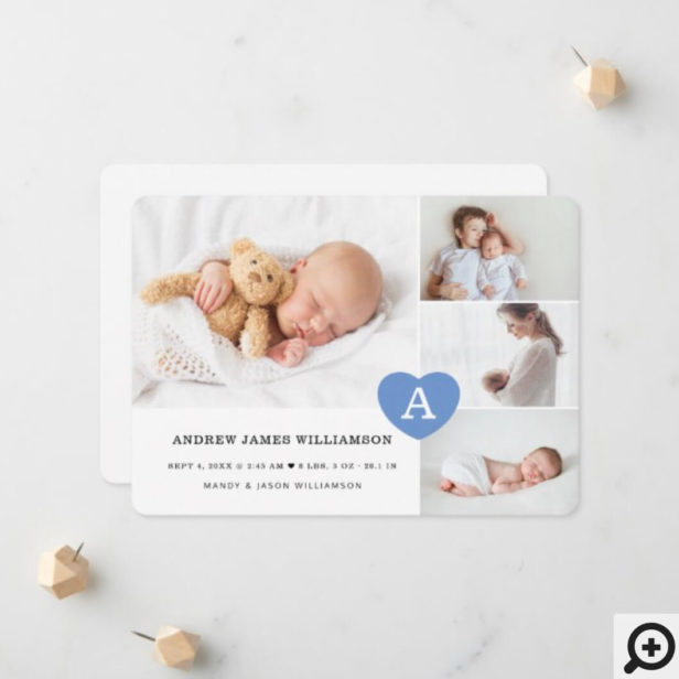 Simple Baby Boy Photo Collage Blue Monogram Heart Announcement