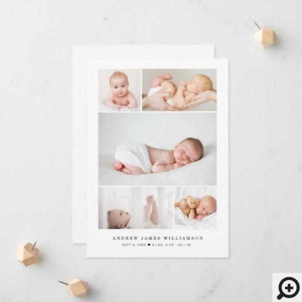 Simple Modern Baby Photo Collage Birth Stats Announcement