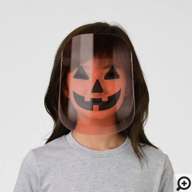 Spooky Halloween Orange Pumpkin Craved Face Face S Kids' Face Shield
